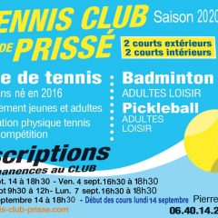 DATES DES INSCRIPTIONS AU TC PRISSE
